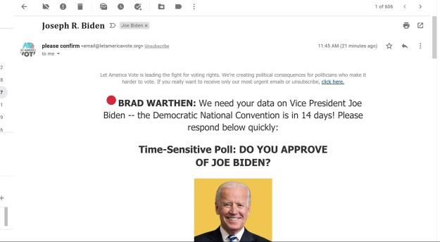 Joe poll