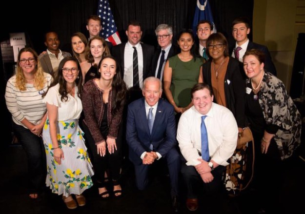 Noah may love Joe almost as much as I do. That's him in the white shirt and no jacket, very excited to be right next to the ex-veep the day he came to campaign for us in 2018. That's me in the middle in the back, next to Campaign Manager Scott Hogan.