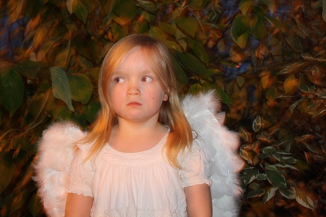 angel costume kid girl refrain sardonic sarcastic