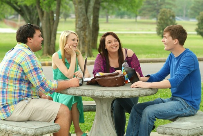 students-college campus chatting