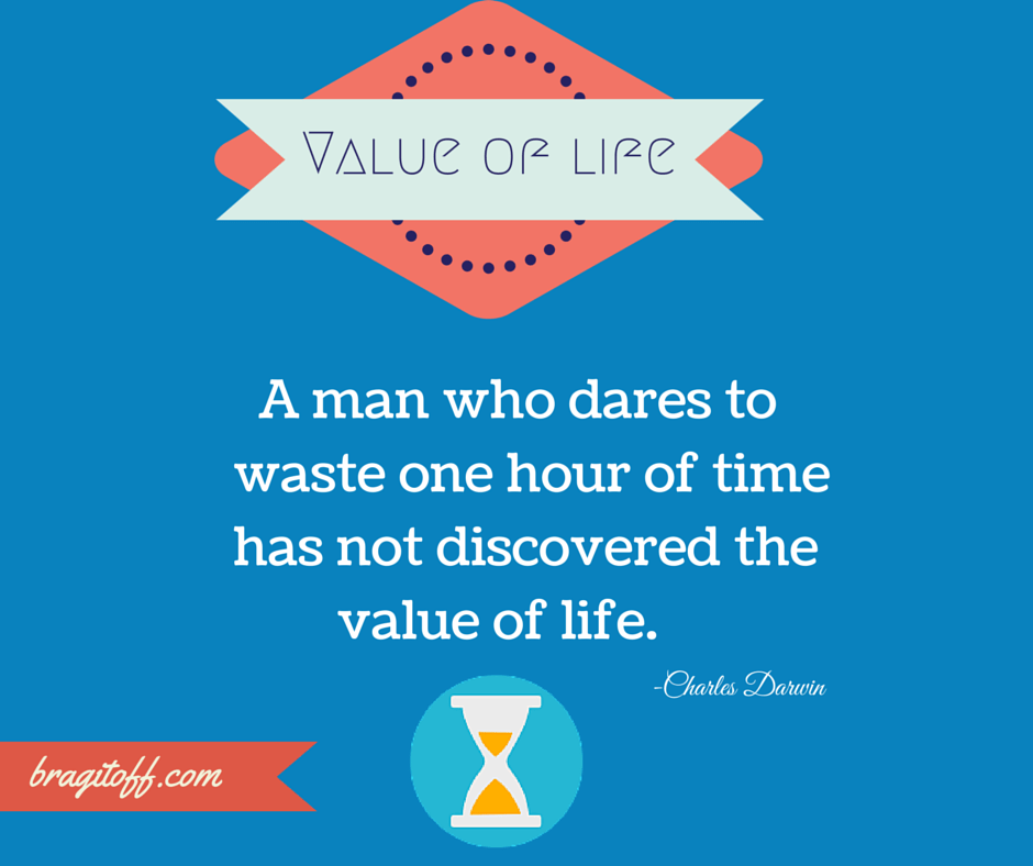 value of time quote by charles darwin minimalistic graphic design