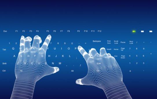 programming coding blue hands digital keyboard fingers