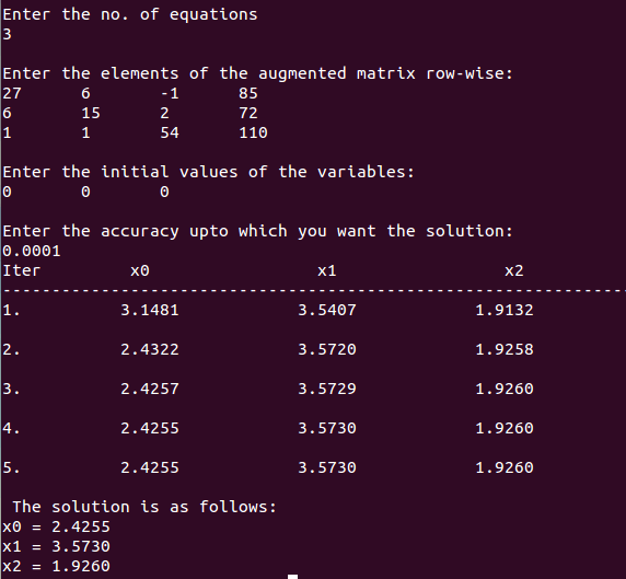 c++ program output iterative method gauss seidel