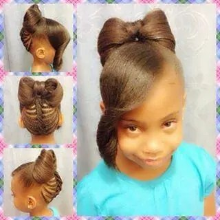 Natural Bow Bun Hairstyle For Girls Braids Hairstyles For Black Kids
