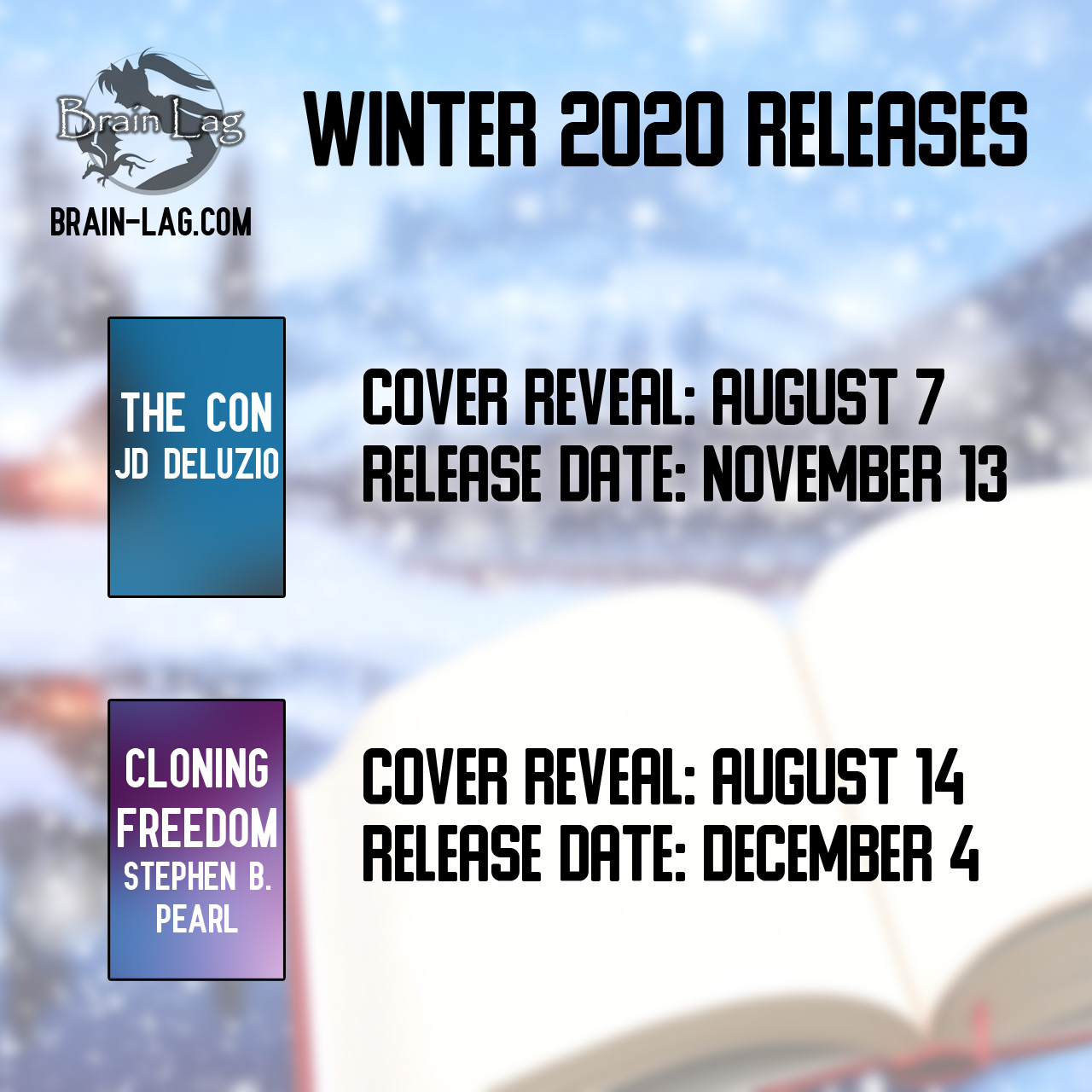 Promo image of a book in front of a winter scene showing placeholder graphics of upcoming books. Full details in post below.