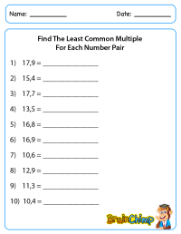 Least Common Factor Worksheets - lcm gcf worksheets 6th ...