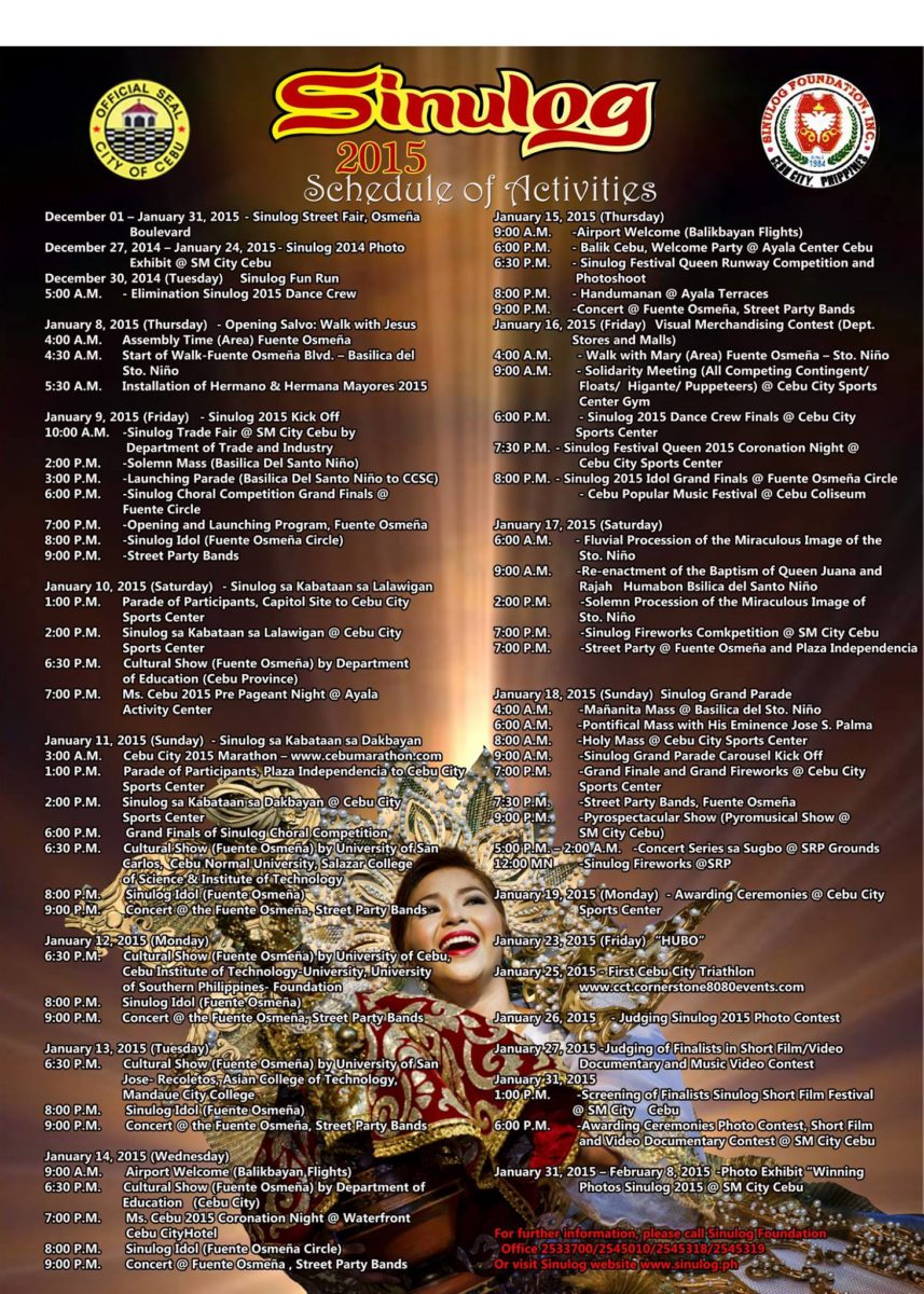 sinulog 2015 schedule of events and activities brain contour