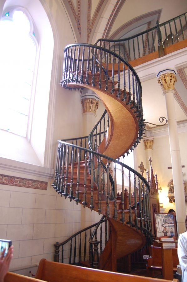 The Miraculous Stairs Inside Loretto Chapel Defies Engineering   Loretto Chapel Staircase Wood   Free Standing   St Joseph   Nm Church Santa Fe   Light   Sister