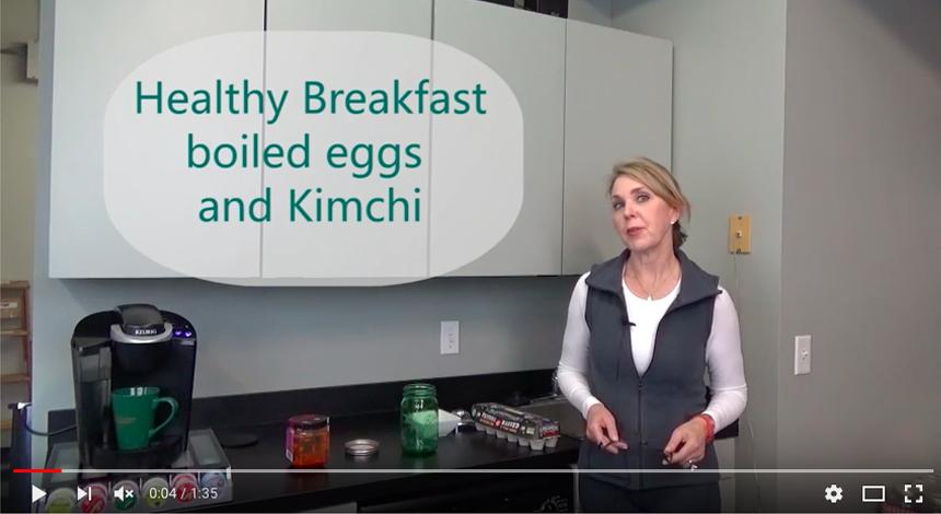 Brain Fuel Cookbook, Hard boiled eggs and kimchi