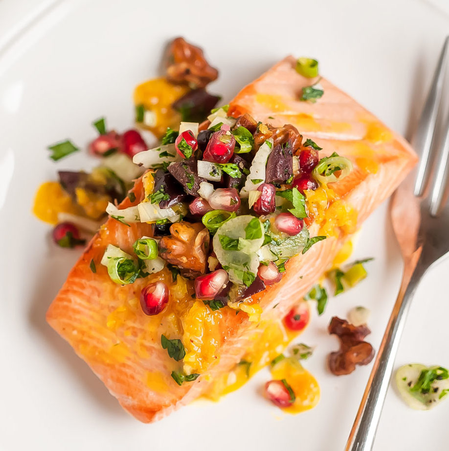 Roasted Ginger Salmon with Pomegranate Olive Mint Salsa