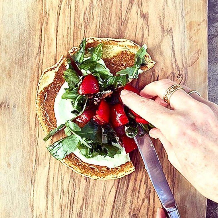 Socca Pizza with Basil Cashew Cream, Tomatoes and Arugula