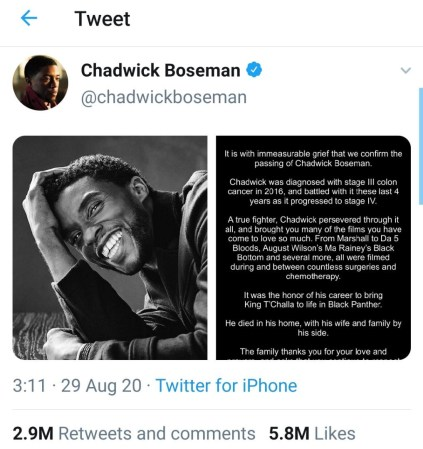 Chadwick Boseman's Final Tweet Becomes 'Most Liked Post' In The History Of Twitter