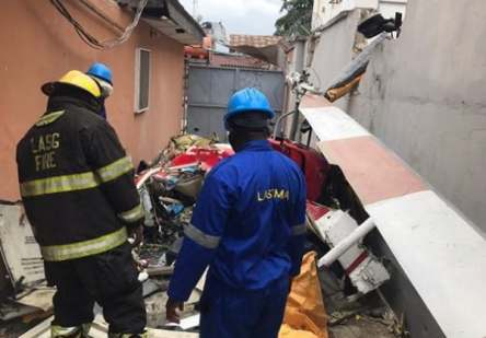 Photos From The Helicopter Crash In Lagos States