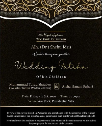 Wedding Invitation Of President Buhari's Daughter, Hanan To Turad Sha'aban Released