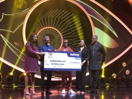 BBNaija Winner Laycon Receives His N30m Cheque, Other Prizes