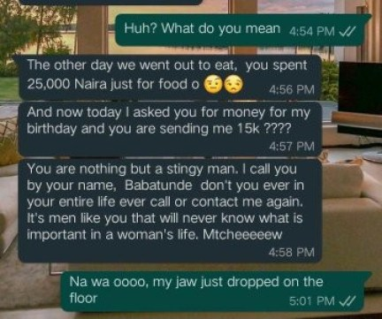 Lady Blasts Her Boyfriend For Giving Her Just N15k To Celebrate Her Birthday