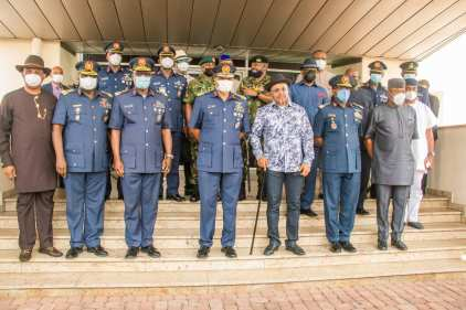 Air Marshall Abubakar Visits Gov Udom Following The Death Of Idongesit Nkanga, Nsikak Eduok