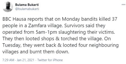 Bandits Kill 37 Persons In Zamfara