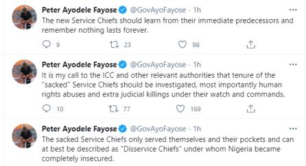 Former Ekiti Governor Fayose Seeks Probe Of Sacked Service Chiefs