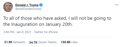 I Will Not Attend The Inauguration – President Donald Trump