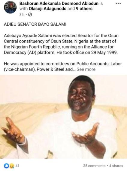 Senator Bayo Salami Is Dead