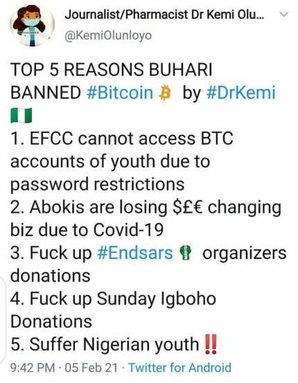 5 Reasons President Buhari Banned Bitcoin - Dr Kemi Olunloyo
