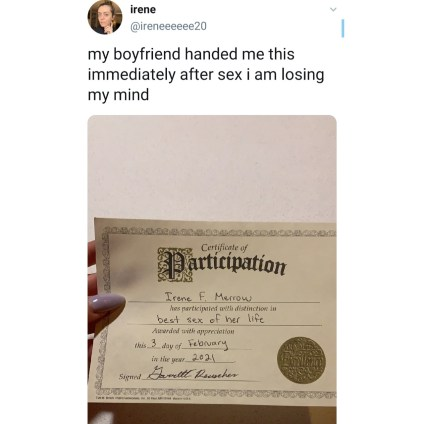 The Moment A Lady Received Certificate From Her Boyfriend Immediately After Sexual Intercourse