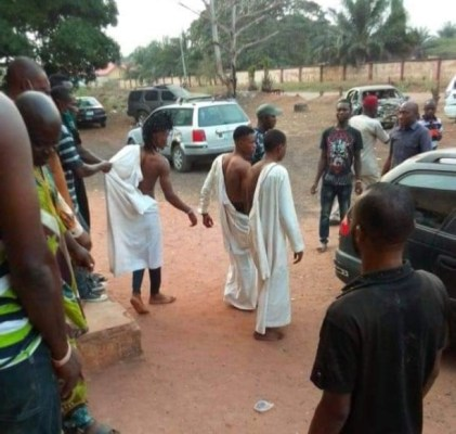 Three 'Strange' Men On White Robes Caught Attempting To Use A Girl For Money Ritual In Edo