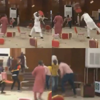 Watch Video As APC Members Throw Chairs At Each Other As Their Stakeholders Meeting Ends In Violence