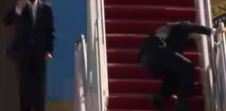 President Joe Biden Trips, Falls Thrice While Climbing Air Force One Stairs