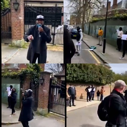 Reno Omokri, Other Nigerians Stage Protest At Abuja House Where President Buhari Is Lodging In The UK