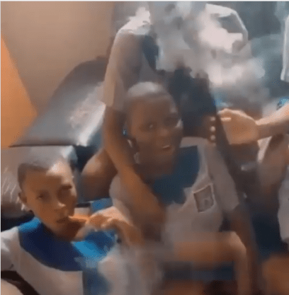 School Girls In Their Uniforms Caught Smoking Shisha