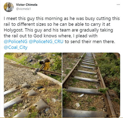 See Photos As A Man Is Spotted Cutting Rail Lines Into Different Sizes In Enugu