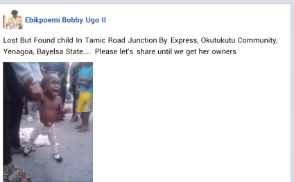 See Photo Of The Child Found 'Abandoned' Along The Road In Bayelsa State