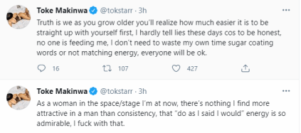 There's nothing I find more attractive in a man than consistency - Toke Makinwa