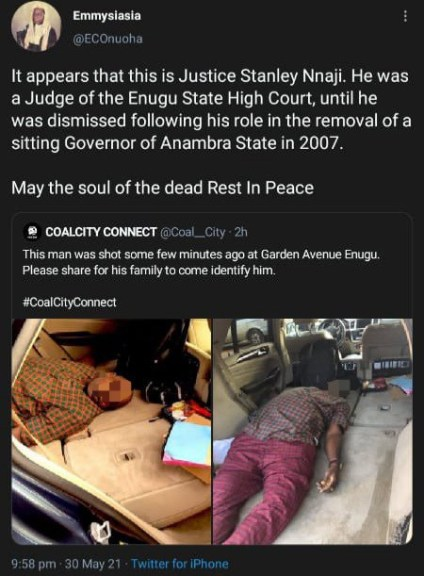 Justice Stanley Nnaji Identified As The Man Killed By Gunmen In Enugu
