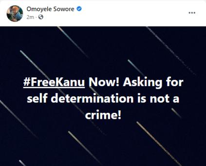 Omoyele Sowore Demands Release Of IPOB Leader, Nnamdi Kanu