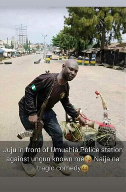 See Photo As Juju Is Placed Near A Police Post In Abia