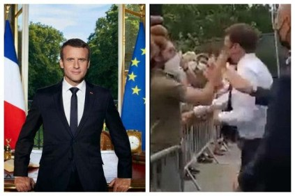 Watch The Moment France President Emmanuel Macron Was Slapped In The Face During Crowd Walkabout