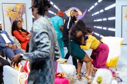 Watch Video As Kaisha And Lucy Fight On BBNaija Reunion Show