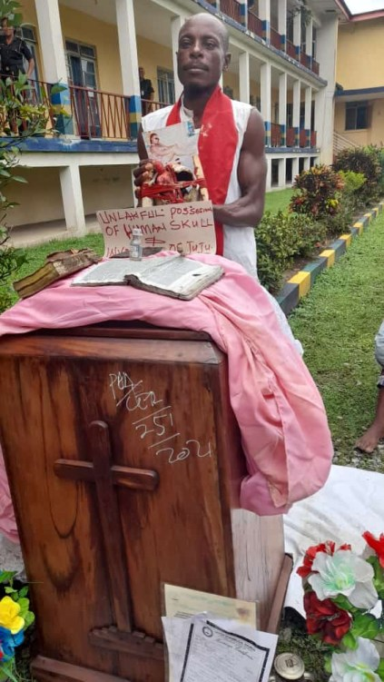 See Photos As Cross River Pastor Is Arrested With Human Skull