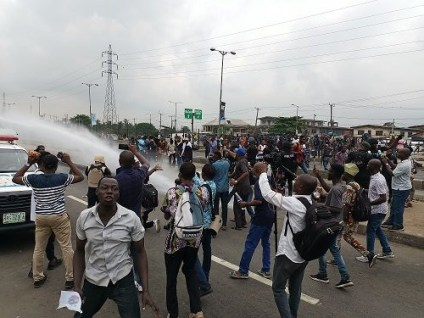 See Photos As Police Arrest And Teargas Yoruba Nation Protesters In Lagos