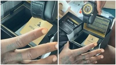 Burna Boy Flaunts Customised Grammy Wristwatch