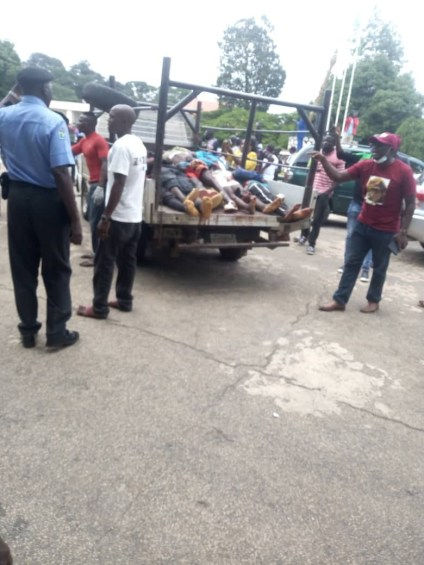 See Photos As Angry Youths Storm Plateau State House Of Assembly With Bodies Of Fulani Militias Attack Victims