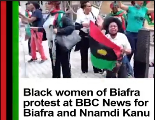 Biafran Women Stage Protest In Front Of BBC Office