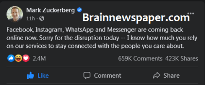 Mark Zuckerberg Reacts To The Downtime Of Facebook, Instagram, WhatsApp And Messenger