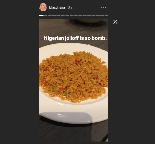 'Nigerian Jollof Is So Bomb' - Blac Chyna Declares As She Lands In Nigeria