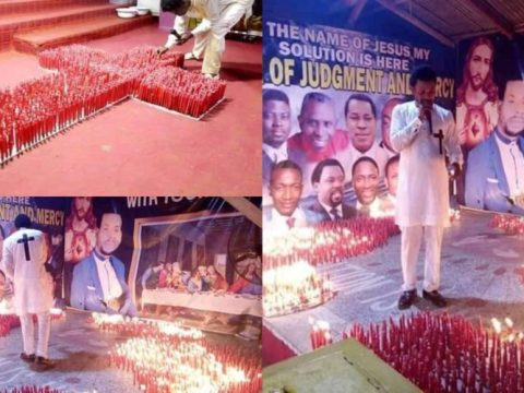 Apostle Lights Hundreds Of Red Candles During Service