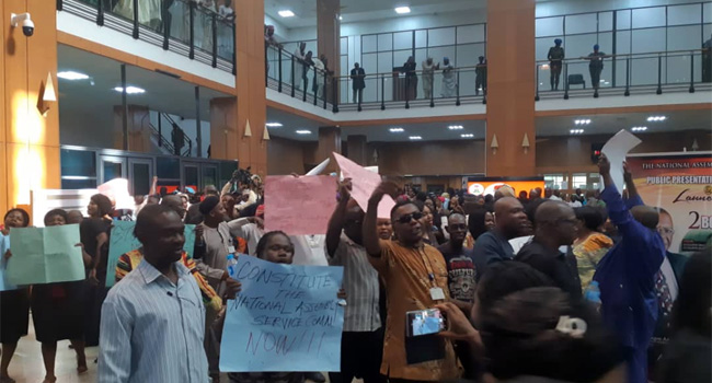 National Assembly Workers Begin Strike, Block Assembly Gates