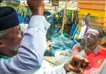 Caption This Photo Of A Man Blowing 'Kisses' At VP, Yemi Osinbajo